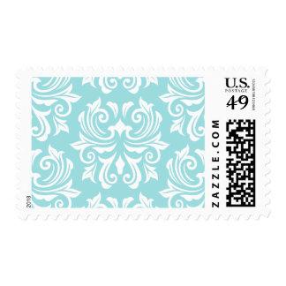 Stylish ornate pale aqua blue white damask pattern stamp
