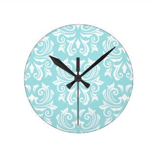 Stylish ornate pale aqua blue white damask pattern round clock