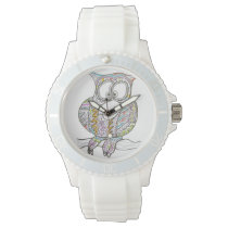 Stylish Owl - Abstract Art Ink Drawing Wristwatch