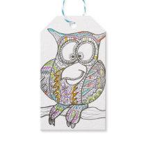 Stylish Owl - Modern Art Ink Drawing Gift Tags