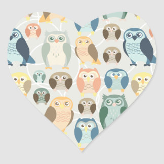 Stylish Owl Pattern- complementary colors Heart Sticker