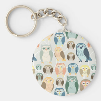 Stylish Owl Pattern- complementary colors Keychain