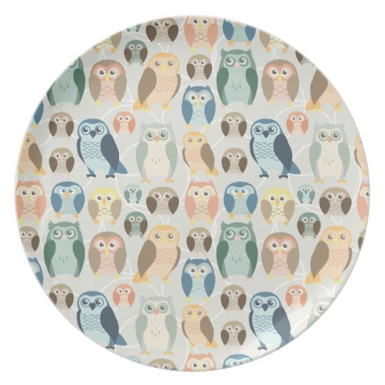 Stylish Owl Pattern- complementary colors Melamine Plate