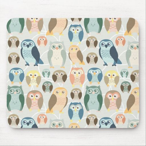 Stylish Owl Pattern- complementary colors Mousepad