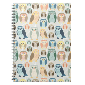 Stylish Owl Pattern- complementary colors Spiral Notebook