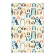 Stylish Owl Pattern- complementary colors Stationery