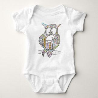 Stylish Owl-Whimsical Ink Drawing Baby Bodysuit
