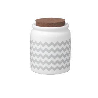 Stylish pale gray zig zags zigzag chevron pattern candy jar