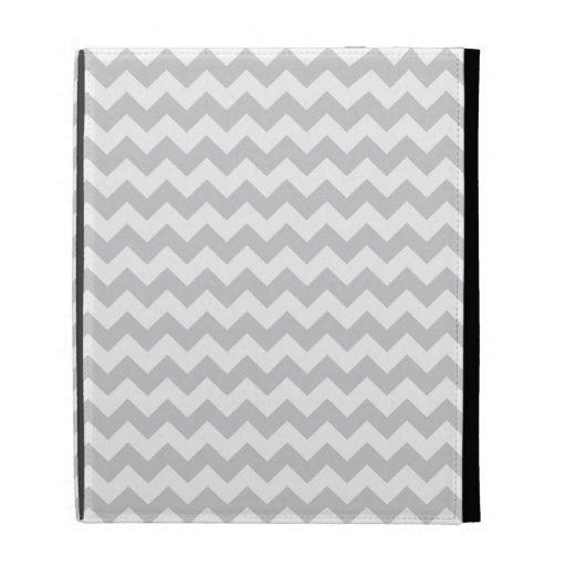 Stylish pale gray zig zags zigzag chevron pattern iPad folio cover