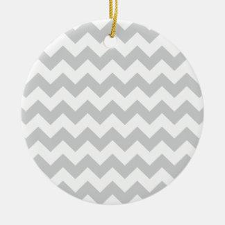 Stylish pale gray zig zags zigzag chevron pattern ceramic ornament