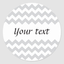 Stylish pale gray zig zags zigzag chevron pattern classic round sticker