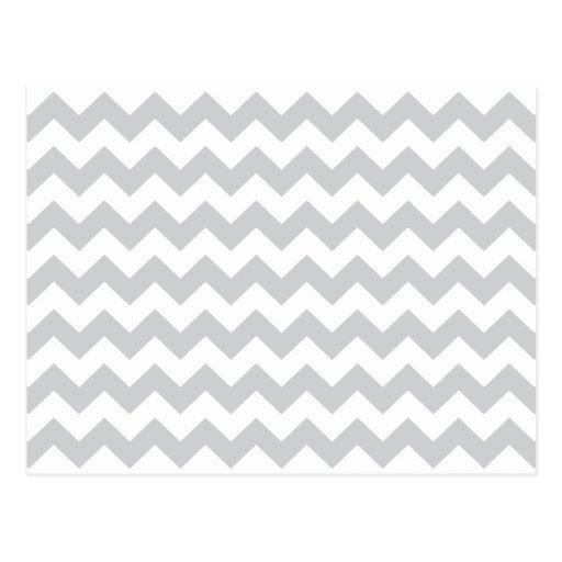 Stylish pale gray zig zags zigzag chevron pattern postcard