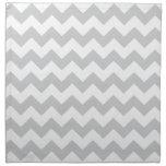Stylish pale gray zig zags zigzag chevron pattern printed napkins