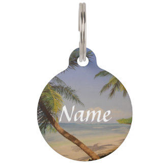 Stylish Palm Tree Pet Name Tag