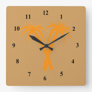 Stylish palm trees in desert square wall clock
