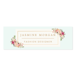Stylish Pastel Watercolor Flowers Girly Chic Double-Sided Mini Business Cards (Pack Of 20)