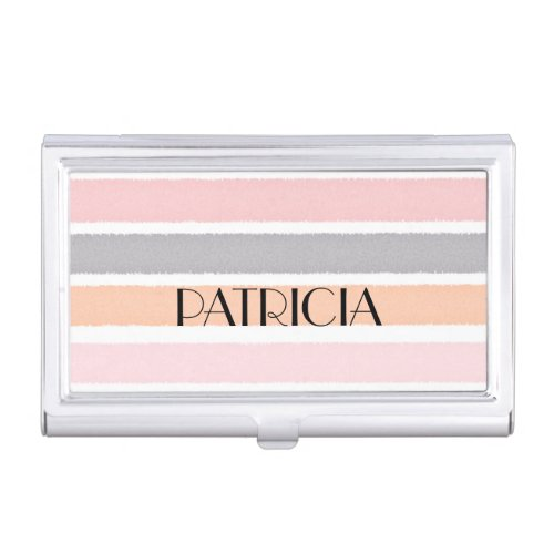 Stylish Pastel Watercolor Stripes Custom Name Business Card Holders