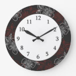 Stylish Pattern Red White Flowers On Black Wall Clocks