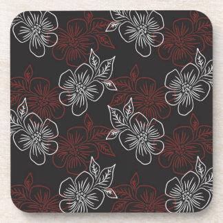 Stylish Pattern Red White Flowers On Black Coaster