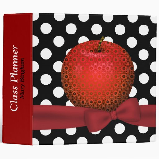 Stylish Patterned Apple Teacher's Class Planner 3 Ring Binders