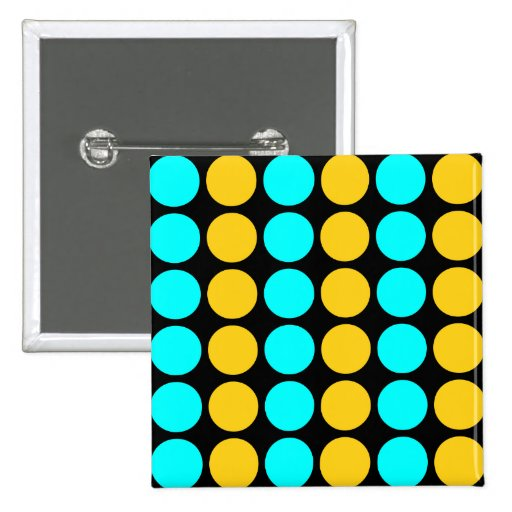 Stylish Patterns for Her : Gold & Cyan Polka Dots 2 Inch Square Button