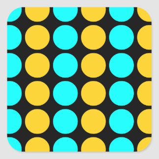 Stylish Patterns for Her : Gold & Cyan Polka Dots Square Sticker