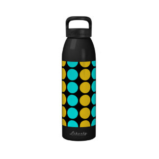 Stylish Patterns for Her : Gold & Cyan Polka Dots Reusable Water Bottle