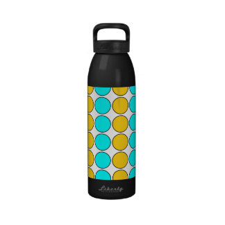 Stylish Patterns for Her : Gold & Cyan Polka Dots Drinking Bottles