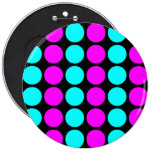 Stylish Patterns for Her : Pink & Cyan Polka Dots Pinback Button