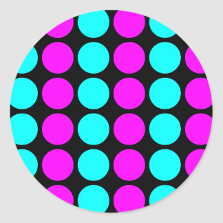 Stylish Patterns for Her : Pink & Cyan Polka Dots Classic Round Sticker