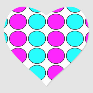 Stylish Patterns for Her : Pink & Cyan Polka Dots Heart Sticker