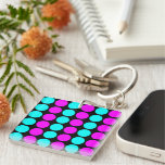 Stylish Patterns for Her : Pink & Cyan Polka Dots Single-Sided Square Acrylic Keychain