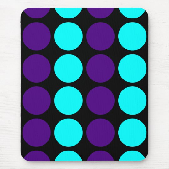 Stylish Patterns for Her : Purple & Cyan Polka Dot Mouse Pad
