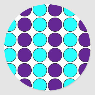 Stylish Patterns for Her  Purple & Cyan Polka Dots Classic Round Sticker