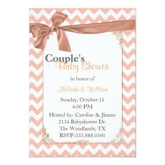 Stylish Peach Chevron Couple's Baby Shower 5x7 Paper Invitation Card