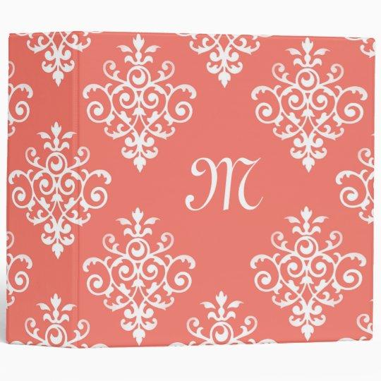 stylish peach coral damask pattern with monogram binder