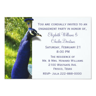 Stylish Peacock Engagement Party Invitation