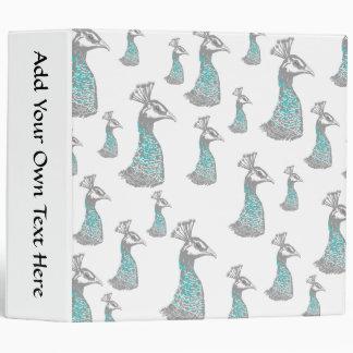 Stylish Peahen Bird Pattern Design. Binder