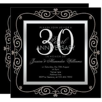 Stylish Pearl Framed 30th Wedding Anniversary Card