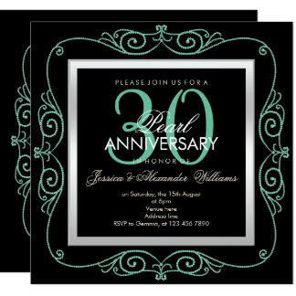 Stylish Pearl Framed 30th Wedding Anniversary Invitation
