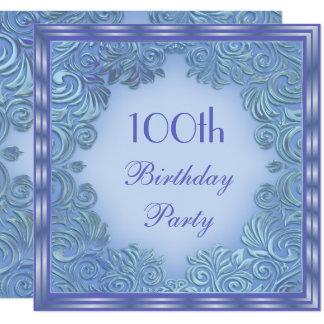 Stylish Periwinkle Foil Leaf Swirls 100th Birthday Card