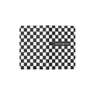 Stylish Personalised Black and White Checks Pocket Moleskine Notebook Cover With Notebook