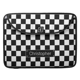 Stylish Personalised Black and White Checks Sleeve For MacBooks