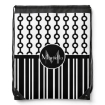 Stylish Personalized Black and White patterned Drawstring Bag