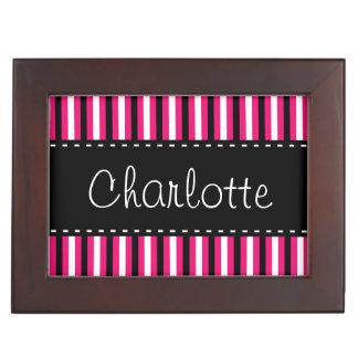 Stylish Personalized Black White Pink Stripes Keepsake Box