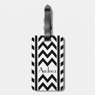 Stylish personalized chevron and stripes tag for luggage