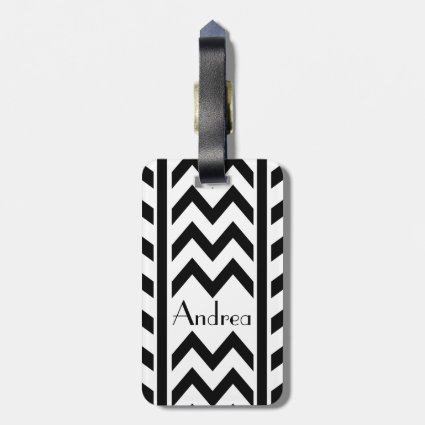 Stylish personalized chevron and stripes luggage tags