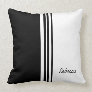 Stylish personalized signature black and white throw pillow