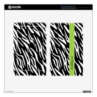 Stylish Personalized Zebra Print Kindle Skin