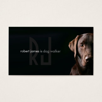Stylish pet care dog walker walking business card